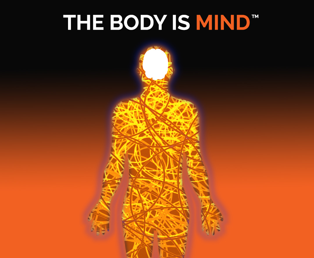 Navigation button image depicting the shape of a human body with orange curved and criss-crossing lines depicting the energy of the human body and with the caption THE BODY IS MIND at the top.