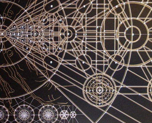 atomic-biofeedback-mechanisms - this image depicts sacred geometry of gold foil against dark browns, used as the header for the biofeedback article on TheBodyIsMind