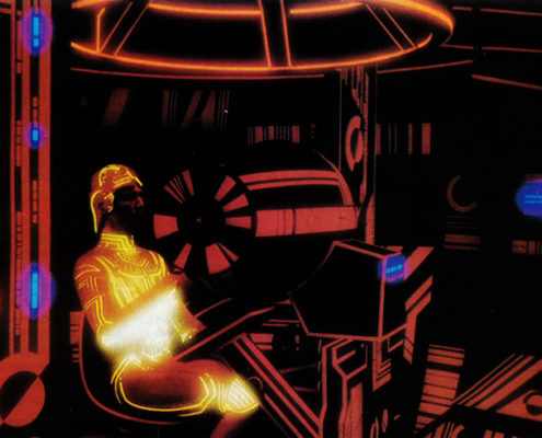 A vintage image from the original movie TRON is used as the header image for the Virtual Reality Therapy article on the Ultimate Healing Guide at TheBodyIsMind.com